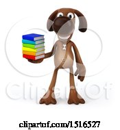3d Brown Chocolate Lab Dog Holding Books On A White Background