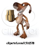 3d Brown Chocolate Lab Dog Holding Boxes On A White Background