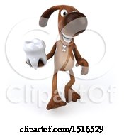 3d Brown Chocolate Lab Dog Holding A Tooth On A White Background