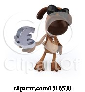 3d Brown Chocolate Lab Dog Holding A Euro On A White Background