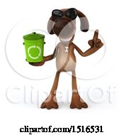 3d Brown Chocolate Lab Dog Holding A Recycle Bin On A White Background