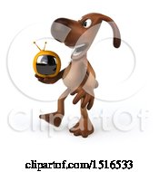 Poster, Art Print Of 3d Brown Chocolate Lab Dog Holding A Tv On A White Background