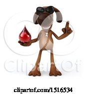 3d Brown Chocolate Lab Dog Holding A Blood Drop On A White Background
