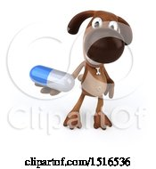 3d Brown Chocolate Lab Dog Holding A Pill On A White Background
