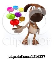 Poster, Art Print Of 3d Brown Chocolate Lab Dog Holding Messages On A White Background