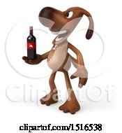 Poster, Art Print Of 3d Brown Chocolate Lab Dog Holding Wine On A White Background