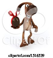 Poster, Art Print Of 3d Brown Chocolate Lab Dog Holding A Chocolate Egg On A White Background