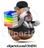 Clipart Of A 3d Gentleman Or Business Bulldog Holding Books On A White Background Royalty Free Illustration
