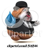 Clipart Of A 3d Gentleman Or Business Bulldog Holding A Water Drop On A White Background Royalty Free Illustration