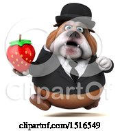 Clipart Of A 3d Gentleman Or Business Bulldog Holding A Strawberry On A White Background Royalty Free Illustration