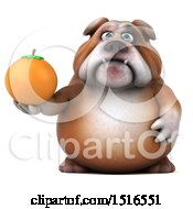 Clipart Of A 3d Bulldog Holding An Orange On A White Background Royalty Free Illustration