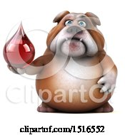 Clipart Of A 3d Bulldog Holding A Blood Drop On A White Background Royalty Free Illustration