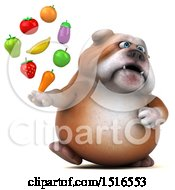 Clipart Of A 3d Bulldog Holding Produce On A White Background Royalty Free Illustration