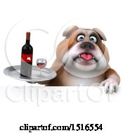 Clipart Of A 3d Bulldog Holding Wine On A White Background Royalty Free Illustration