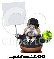 Clipart Of A 3d Gentleman Or Business Bulldog Holding A Globe On A White Background Royalty Free Illustration