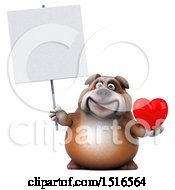 Clipart Of A 3d Bulldog Holding A Heart On A White Background Royalty Free Illustration