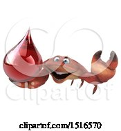 Clipart Of A 3d Crab Holding A Blood Drop On A White Background Royalty Free Illustration