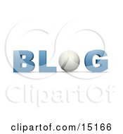 White Volleyball Forming The Letter O In The Word Blog For An Internet Golfing Blog Clipart Illustration