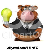 3d Brown Business Cow Holding A Light Bulb On A White Background