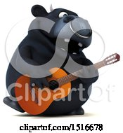 3d Black Bull Playing A Guitar On A White Background