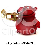 3d Red Bull Playing A Trumpet On A White Background