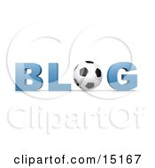 Black And White Soccer Ball Forming The Letter O In The Word Blog For An Internet Golfing Blog Clipart Illustration by 3poD