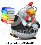 Clipart Of A 3d Chubby White Business Chicken Holding Books On A White Background Royalty Free Illustration