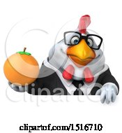 Clipart Of A 3d Chubby White Business Chicken Holding An Orange On A White Background Royalty Free Illustration