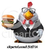 Clipart Of A 3d Chubby White Business Chicken Holding A Burger On A White Background Royalty Free Illustration