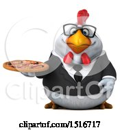 Clipart Of A 3d Chubby White Business Chicken Holding A Pizza On A White Background Royalty Free Illustration