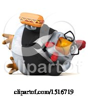 Clipart Of A 3d Chubby White Business Chicken Holding A Hot Dog On A White Background Royalty Free Illustration