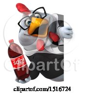 Clipart Of A 3d Chubby White Business Chicken Holding A Soda On A White Background Royalty Free Illustration