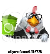 Clipart Of A 3d Chubby White Business Chicken Holding A Recycle Bin On A White Background Royalty Free Illustration