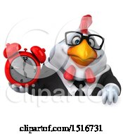 Clipart Of A 3d Chubby White Business Chicken Holding An Alarm Clock On A White Background Royalty Free Illustration