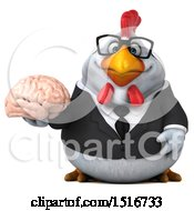 Clipart Of A 3d Chubby White Business Chicken Holding A Brain On A White Background Royalty Free Illustration