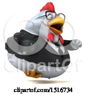 Clipart Of A 3d Chubby White Business Chicken Holding A Camera On A White Background Royalty Free Illustration