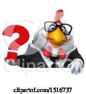 Clipart Of A 3d Chubby White Business Chicken Holding A Question Mark On A White Background Royalty Free Illustration