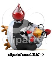 Clipart Of A 3d Chubby White Business Chicken Holding A Blood Drop On A White Background Royalty Free Illustration
