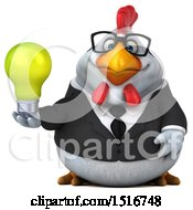 3d Chubby White Business Chicken Holding A Light Bulb On A White Background