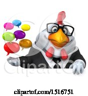 Clipart Of A 3d Chubby White Business Chicken Holding Messages On A White Background Royalty Free Illustration