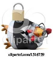 Clipart Of A 3d Chubby White Business Chicken Holding A Padlock On A White Background Royalty Free Illustration
