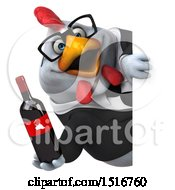 Clipart Of A 3d Chubby White Business Chicken Holding Wine On A White Background Royalty Free Illustration