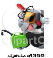 Clipart Of A 3d Chubby White Business Chicken Holding A Gas Can On A White Background Royalty Free Illustration