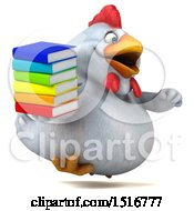 Clipart Of A 3d Chubby White Chicken Holding Books On A White Background Royalty Free Illustration