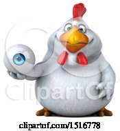 Clipart Of A 3d Chubby White Chicken Holding An Eye On A White Background Royalty Free Illustration