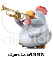 Clipart Of A 3d Chubby White Chicken Playing A Trumpet On A White Background Royalty Free Illustration