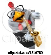 3d Chubby White Business Chicken Playing A Saxophone On A White Background