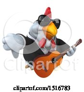 Clipart Of A 3d Chubby White Business Chicken Holding A Guitar On A White Background Royalty Free Illustration