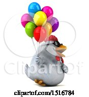Clipart Of A 3d Chubby White Chicken Holding Balloons On A White Background Royalty Free Illustration