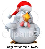 Clipart Of A 3d Chubby White Christmas Chicken Holding A Thumb Down On A White Background Royalty Free Illustration